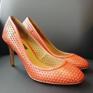 Ann Taylor Orange High Heel Pumps 7.5 M